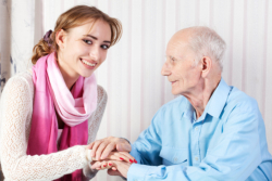 elderly and caregiver